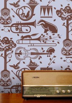 musical instruments and wildlife wallpaper
