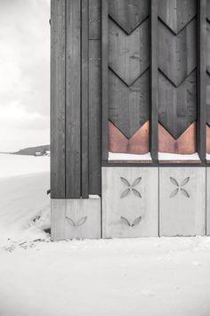 TEd'A arquitectes, Luis Diaz Diaz · School in Orsonnens Door Design, Exterior Design, House Design, Facade Architecture, Contemporary Architecture, Ted, Unusual Buildings, Kitchen Cabinet Styles, Winter Cabin