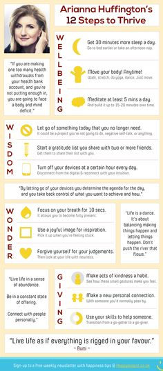 Arianna Huffington's 12 Steps to Thrive [infograph]