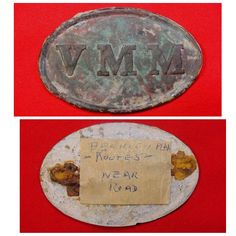 "A really pretty, excavated, large size, ""VMM"" (Volunteer Main Militia) cartridge box plate from Mr. Bill Gavin's personal collection.  This plate was recovered from private property off ""Route 5"" near the Berkley Plantation.  The plate retains full lead and still has both wire loops intact on the reverse."