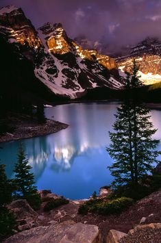 Sunrise at Moraine Lake, Banff National Park, Alberta, Canada. Get travel discounts <3