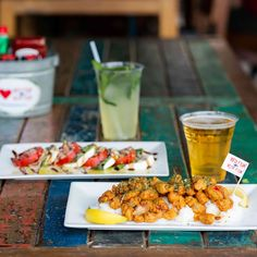 Our Caprese Salad and Gator Bites pair nicely with a cold beer or a handcrafted mojito. Maybe throw out your meal plan for tonight and head to 🐊 Red Fish Blue Fish, Menu Items, Mojito, Caprese Salad, Outdoor Dining, The Good Place, Meal Planning, Good Food, Beer