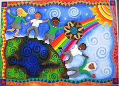 Beckford School Mural Commission: Celebration of the school's global links, including the school logo by Pixie Art Workshops, via Flickr