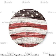 Painted American Flag on Rustic Wood Texture Heart Sticker by #RedWhiteAndBlue1 -  #Gravityx9
