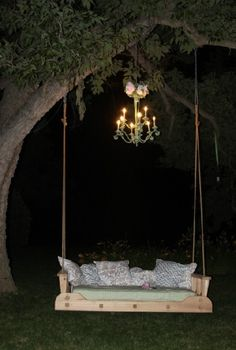 Outdoor swing. Wouldn't it be great out away frm the house in a kind of secret garden setting!