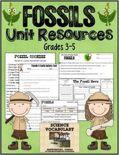 Fossils Unit Resources ~ Grades 3-5 ~This is a mini bundle with several resources included for a Fossil Unit. These were made to meet 4th Grade NC Essential Standards, but can be adapted to work with any study of fossils and earth surface/history. Lots of resources included! http://www.teacherspayteachers.com/Store/Kim-Miller-24