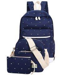 Beyou Set Batoh + kabelka + pouzdro puntíkový tmavě modrý