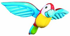 An inflatable parrot fun for the pool, for zoo trips, for safari themed parties, or just because. This package contains 1 inflatable parrot.