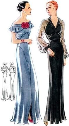 #T1659 - 1930s Evening Gown with Two Neckline Options Sewing Pattern - Retro