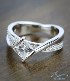 1.35 CT Bypass Style Princess Cut Diamond In 925 Siver Weding & Engagement Ring #aonejewels