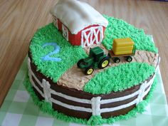 Tractor Cake - Tractor cake with barn. this reminded me of william! :) @Gretchen Andrews