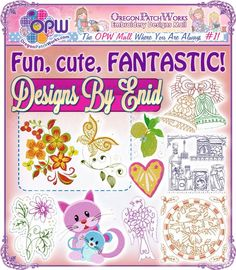 Fun, cute and FANTASTIC machine embroidery designs from Designs by Enid!