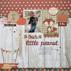 #papercraft #scrapbook #layout. Our Little Peanut **Simple Stories DT** - Scrapbook.com - Made with Cozy Christmas collection by Simple Stories.