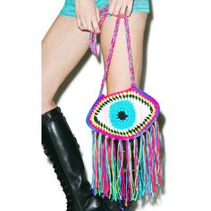 Third Eye Fringe Bag ($45) ❤ liked on Polyvore featuring bags, handbags, shoulder bags, macrame purse, crochet purse, crossbody purse, fringe handbags and fringe crossbody handbags