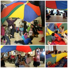 Children of all ages love to play with the parachute. They love the soothing songs, the bright colours and most of all.the excitement of running underneath. Parachute Songs, Umbrella Song, Music For Toddlers, Music And Movement, Under My Umbrella, Bright Colours, Kids Songs, Umbrellas, Scouts