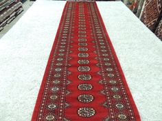 Hand Knotted Bukhara Runner Size: 364cm x 82cm