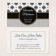 Bold Black White Damask Dots Stripes Gold Monogram Business Card - elegant gifts gift ideas custom presents