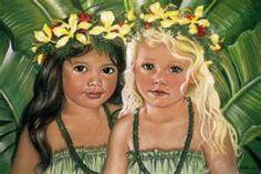 'Halau Sisters' by Mary Koski (American) ['halau' means 'school,' 'academy,' in Hawaiian] Hawaiian Girls, Hawaiian Art, Hawaiian Dancers, Hawaiian Decor, Tahiti, Meaningful Paintings, Polynesian Art, Hula Dancers, Tropical Art