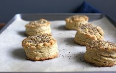 """""""everything bagel spice"""" scones:  buttery, flaky scones get the everything bagel spice treatment."""