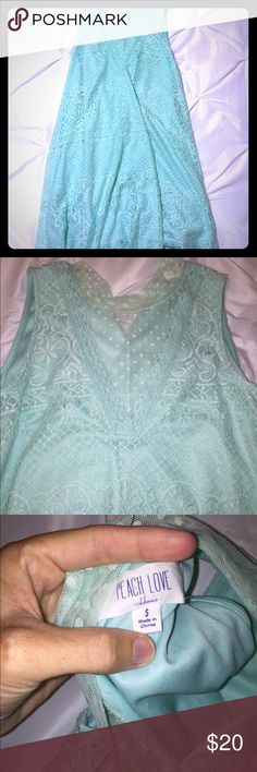Blue Lace Dress - Small (Fits like a Med) Boutique Peach Love Boutique Mint/Seafoam/Blue Lace Dress Size Small fits like a Medium. NEW, Never worn, no defects/flaws. Comes from smoke free home. Peach Love Boutique Dresses