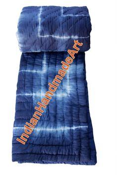 INdian Hand printed Tie-Dye Indigo Color Shibori Quilted Kantha Jaipuri Razai KH #HandMade #AntiqueStyle