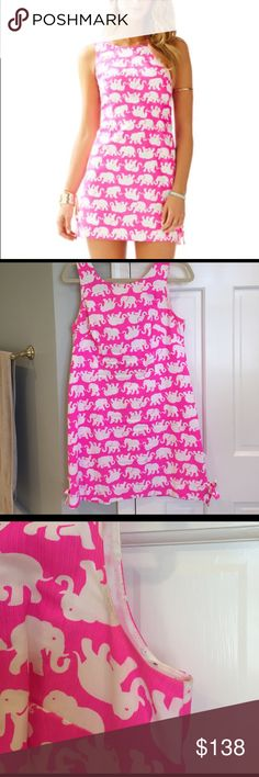 Lilly Pulitzer Tusk in Sun Delia Shift Dress Great condition despite a little discoloration under arms from spray tan which can come out in the wash! A favorite print! Lilly Pulitzer Dresses