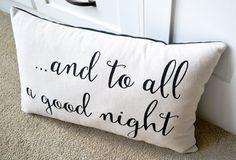 Christmas Pillows, Holiday Pillow, Home Decor, Christmas, And to All a Good Night, Christmas Decor, Winter Pillows, Santas, Christmas Pillow
