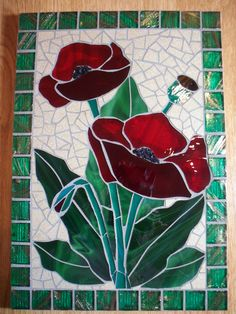 I made this poppy mosaic for a commission that I had.