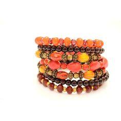 Bellissimo bracciale filo stile Boho, perline di corallo rosso, rosso,... (€21) ❤ liked on Polyvore featuring accessories