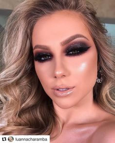 05 Party Make-up mit Lippenstift Lipgloss! Smoke Eye Makeup, Black Smokey Eye Makeup, Eye Makeup Steps, Hooded Eye Makeup, Makeup Tips, Hair Makeup, Dramatic Smokey Eye, Makeup Black, Party Eye Makeup