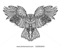 Eagle owl. Birds. Black white hand drawn doodle. Ethnic patterned vector illustration. African, indian, totem, tribal, design. Sketch for adult antistress coloring page, tattoo, poster, print, t-shirt