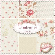 3 Sisters for Moda: Printemps fabric collection in Linen | Shabby Chic quilting fabric