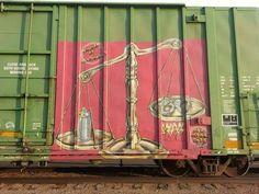 Train art Boxcar, Train Art, Graffiti Art, Coaches, All The Colors, Trains, Street Art, Cars, Painting