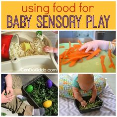 Ideas for using food for baby sensory play - promote healthy infant development, baby milestones, sensory integration and sensory processing skills. Ideas from a pediatric Occupational Therapist and mommy. CanDoKiddo.com