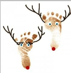Preschool Crafts for Kids*: Christmas Reindeer Footprint Craft. Putting these on plates for Christmas would be cute! Kids Crafts, Christmas Crafts For Toddlers, Christmas Activities, Toddler Crafts, Preschool Crafts, Holiday Crafts, Holiday Fun, Preschool Christmas, Toddler Christmas