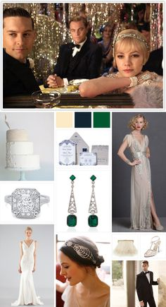 "Nicole Miller ""Mary"" embellished silk bridal gown featured on The Knot ""10 Great Gatsby Wedding Ideas"""