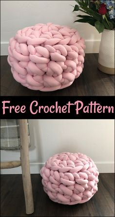 Crochet Pouf Patterns,Jumbo Free Crochet Floor Pouf-It would not be wrong to say that the crochet floor pouf patterns are so much functional and their versatility is unlimited and they are here. Crochet Pouf Pattern, Knitted Pouf, Crochet Cushions, Knitted Blankets, Crochet Floor Cushion, Crochet Home, Crochet Yarn, Hand Crochet, Free Crochet