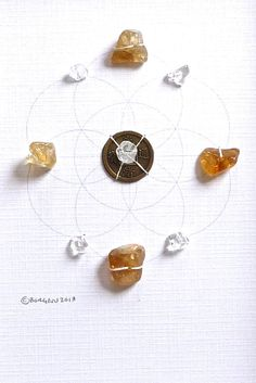PROSPERITY  Crystal Grid  citrine, quartz, flower of life