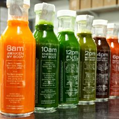 Great idea - glass bottles for drinking every 2 hours. 3 Day Cleanse ~ Detox Lounge San Diego Juice Cleanse