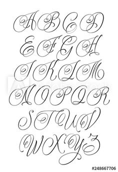 Cursive Font Styles For Tattoos - The Best Style In 2018 Cursive Tattoo Letters, Cursive Fonts Alphabet, Calligraphy Tattoo Fonts, Tattoo Fonts Cursive, Calligraphy Letters, Chicano Tattoos Lettering, Tattoo Lettering Styles, Graffiti Lettering Fonts, Hand Lettering Fonts