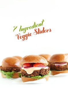 7 Ingredient Veggie Sliders! Soy-free + #vegan + #glutenfree! Cook them on the stove or bake them in the oven. So delicious, hearty and filling!