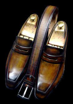 Weston Conti mocs, patine vieux bois avec ceinture assortie