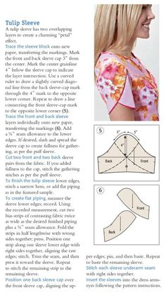 Sewing Techniques Advanced The tulip sleeve - Sew News magazine Easy Sewing Patterns, Sewing Tutorials, Sewing Hacks, Clothing Patterns, Shirt Patterns, Sewing Tips, Dress Patterns, Tulip Sleeve, Petal Sleeve