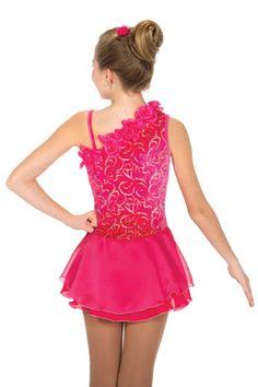 one shoulder figure skating dress | jerry's rose garland dress 613 back