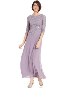 Alex Evenings Elbow-Sleeve Sequined Lace Gown - Mother of the Bride - Women - Macy's