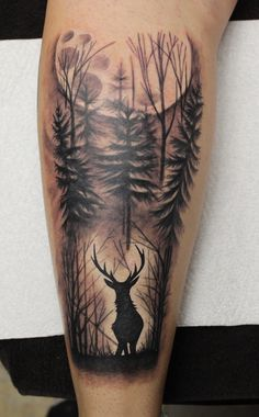 Jj Tattoos, Bow Hunting Tattoos, Antler Tattoos, Deer Tattoo, Black Ink Tattoos, Arm Tattoos For Guys, Tree Tattoos, Raven Tattoo, Tattoo Black