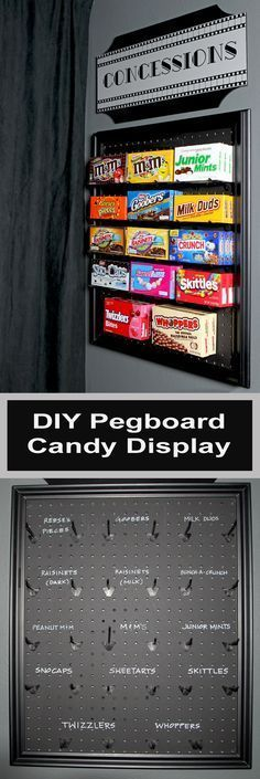 movie room diy An easy DIY project using pegboard and chalkboard paint to make a fun display for candy in a media room or game room. It could also be used on an easel for an outdoor movie night! Deco Cinema, Movie Theater Rooms, Home Theatre Rooms, Movie Theater Basement, Home Cinema Room, Candy Display, Display Ideas, Outdoor Movie Nights, Home Movies