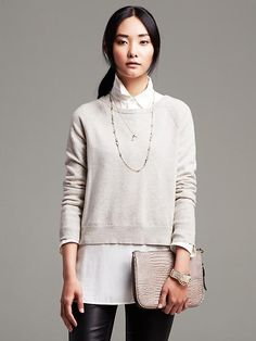 Metallic Pleat-Back Pullover Product Image