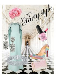 """Spring Fling Evening"" by sassyt33 on Polyvore featuring Oxford, Safiyaa, Christian Louboutin, Bobbi Brown Cosmetics, OPI and The French Bee"