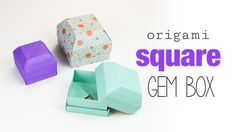 Learn how to make a square origami gem box. This is great as a ring box! These pretty origami boxes also look like blocks of chocolate..  ⬇ more info ⬇ Pap...